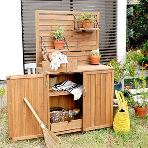 Sスタイル 木製収納庫 YB-202NW80 パネル付収納庫80   『小型 物置小屋 屋外 DIY向け』 ブラウン