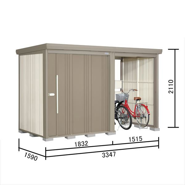 タクボ物置 TP/ストックマンプラスアルファ TP-S3315 多雪型 標準屋根 『追加金額で工事も可能』 『駐輪スペース付 屋外用 物置 自転車収納 におすすめ』 カーボンブラウン