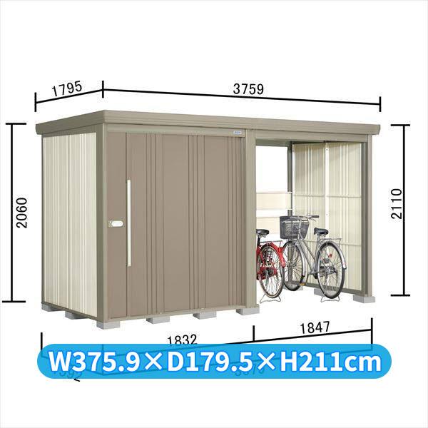 タクボ物置 TP/ストックマンプラスアルファ TP-S37R15 多雪型 標準屋根 『追加金額で工事も可能』 『駐輪スペース付 屋外用 物置 自転車収納 におすすめ』 カーボンブラウン