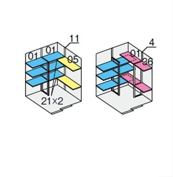 イナバ物置 NXN 奥行1790用 別売棚Dセット ハイルーフ用 *単品購入価格 引き込み式2枚戸用