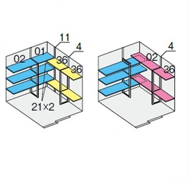 イナバ物置 NXN-48H用 別売棚Dセット ハイルーフ用 *単品購入価格 引き込み式2枚戸用