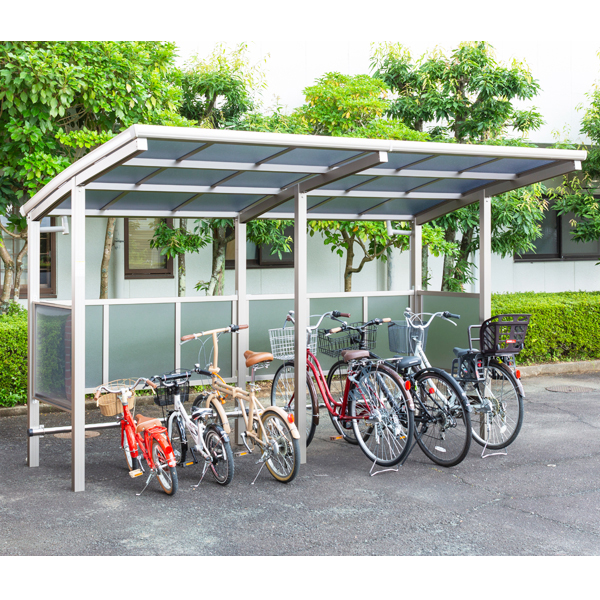 サイクルポート 大仙(ダイセン) 自転車スペース 積雪20cm仕様 間口36 側面・背面1段パネル BS-1801+ 1801J 6台用 『アルミ製 家庭用 駐輪 自転車置き場 屋根』