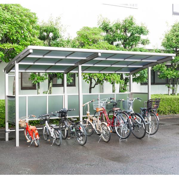 サイクルポート 大仙(ダイセン) 自転車スペース 積雪20cm仕様 間口42 側面・背面1段パネル BS-1801+ 2401J 7台用 『アルミ製 家庭用 駐輪 自転車置き場 屋根』