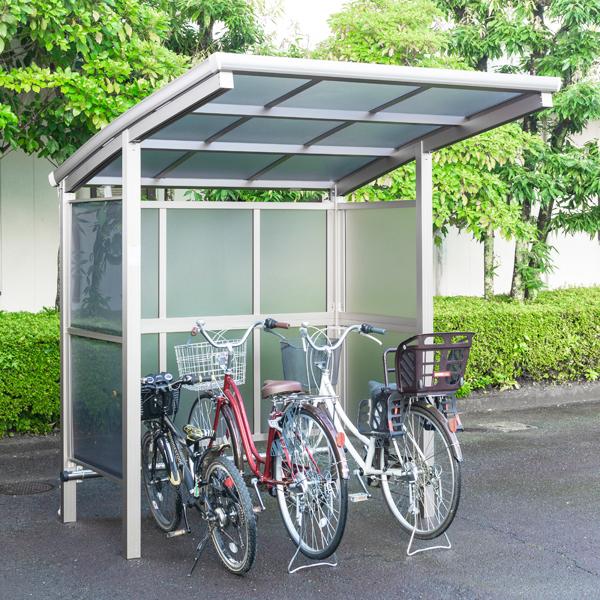 サイクルポート 大仙(ダイセン) 自転車スペース 積雪20cm仕様 間口18 側面・背面2段パネル BS-1801 +BS-P1801 3台用 『アルミ製 家庭用 駐輪 自転車置き場 屋根』