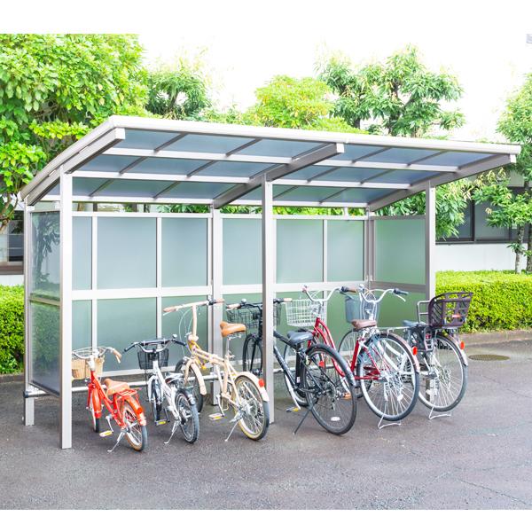 サイクルポート 大仙(ダイセン) 自転車スペース 積雪20cm仕様 間口36 側面・背面2段パネル BS-1801+ 1801J 6台用 『アルミ製 家庭用 駐輪 自転車置き場 屋根』