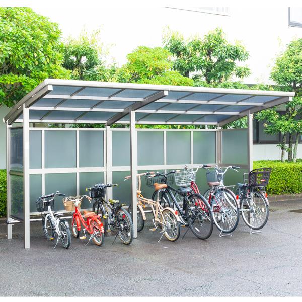 サイクルポート 大仙(ダイセン) 自転車スペース 積雪20cm仕様 間口42 側面・背面2段パネル BS-1801+ 2401J 7台用 『アルミ製 家庭用 駐輪 自転車置き場 屋根』