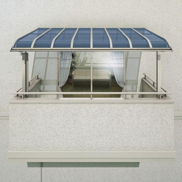 YKKAP 躯体式バルコニー屋根 ソラリア Bタイプ 柱奥行移動タイプ 4間×7尺 アール型 熱線遮断ポリカ屋根 関東間 1500N/m2 中間取付金具セット付