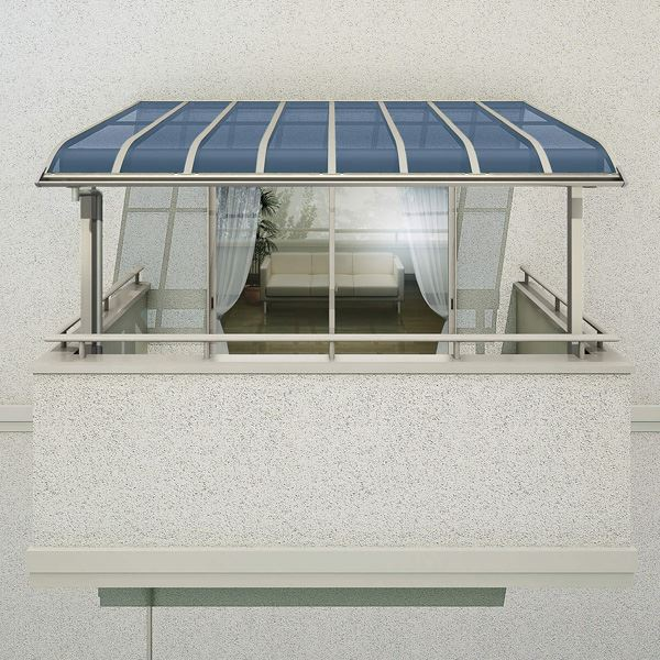 YKKAP 躯体式バルコニー屋根 ソラリア Bタイプ 柱奥行移動タイプ 4間×8尺 アール型 熱線遮断ポリカ屋根 関東間 1500N/m2 中間取付金具セット付