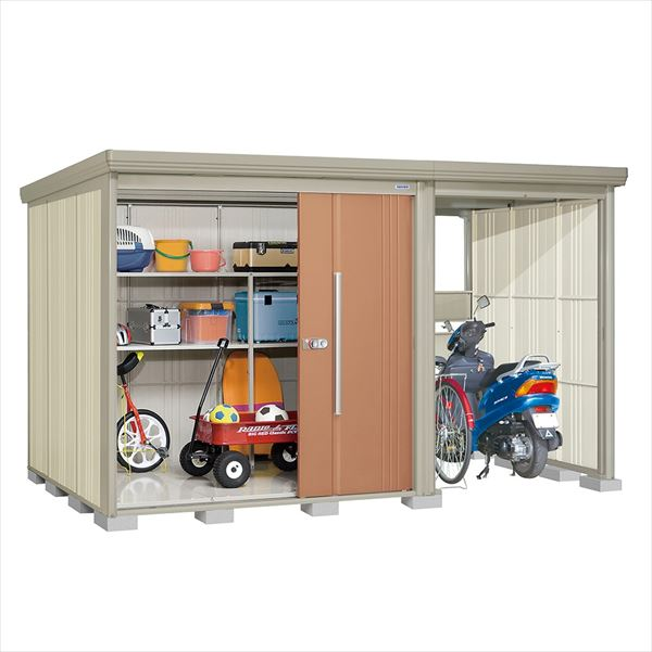タクボ物置 TP/ストックマンプラスアルファ TP-3719T 一般型 標準屋根 『追加金額で工事も可能』 『駐輪スペース付 屋外用 物置 自転車収納 におすすめ』 トロピカルオレンジ
