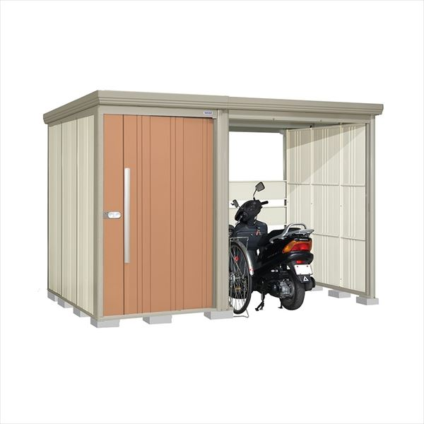 タクボ物置 TP/ストックマンプラスアルファ TP-S31R19T 多雪型 標準屋根 『追加金額で工事も可能』 『駐輪スペース付 屋外用 物置 自転車収納 におすすめ』 トロピカルオレンジ