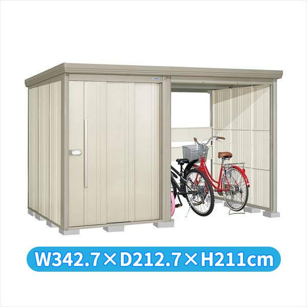 タクボ物置 TP/ストックマンプラスアルファ TP-S33R19W 多雪型 標準屋根 『追加金額で工事も可能』 『駐輪スペース付 屋外用 物置 自転車収納 におすすめ』 ムーンホワイト