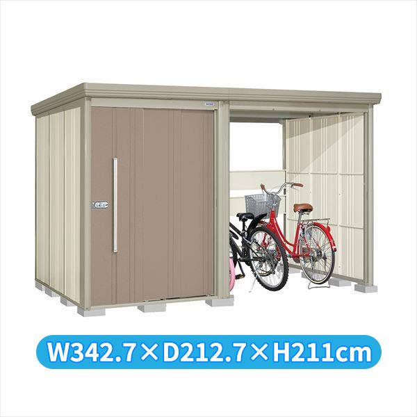 タクボ物置 TP/ストックマンプラスアルファ TP-S33R19B 多雪型 標準屋根 『追加金額で工事も可能』 『駐輪スペース付 屋外用 物置 自転車収納 におすすめ』 カーボンブラウン