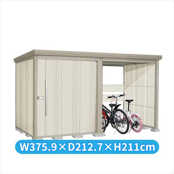 タクボ物置 TP/ストックマンプラスアルファ TP-S37R19W 多雪型 標準屋根 『追加金額で工事も可能』 『駐輪スペース付 屋外用 物置 自転車収納 におすすめ』 ムーンホワイト