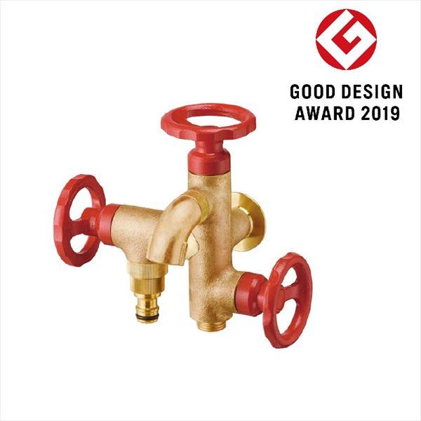 オンリーワン ガーデン水栓  三口横水栓ウォーターワークス(鋳肌・レッドハンドル)    HV3-G18V3R   『立水栓 蛇口 屋外用』