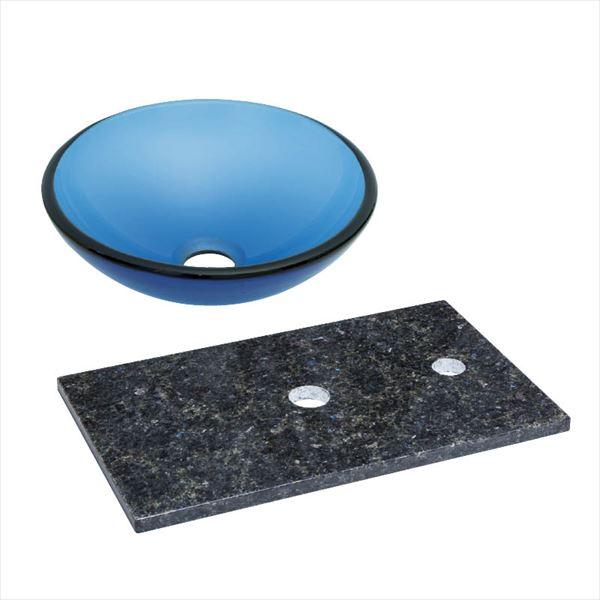 オンリーワン 天然石カウンター手洗鉢セット   JX4-B181SBR   『水栓柱・立水栓 水受け 室内専用』 ブルー×ステラブルー