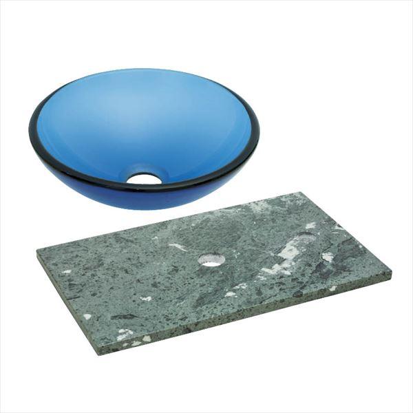 オンリーワン 天然石カウンター手洗鉢セット   JX4-B181BSB   『水栓柱・立水栓 水受け 室内専用』 ブルー×ベルデセルバ