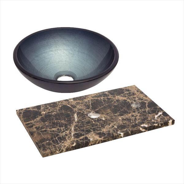 オンリーワン 天然石カウンター手洗鉢セット   JX4-B185EDK   『水栓柱・立水栓 水受け 室内専用』 メタリックグレー×エンペラドールダーク