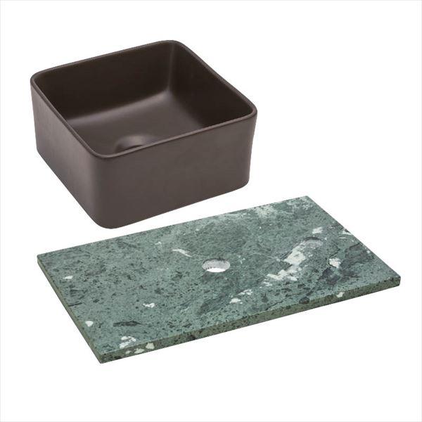オンリーワン 天然石カウンター手洗鉢セット   JX4-B198BSB   『水栓柱・立水栓 水受け 室内専用』 チョコレート×ベルデセルバ