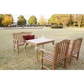 ジャービス商事 手作りチェア テーブル 4点セット 『ガーデンテーブルセット』 無塗装