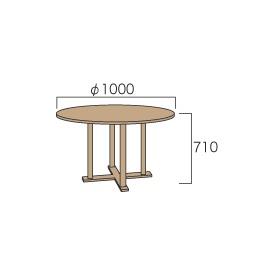 ジャービス商事 丸テーブル1010 『ガーデンテーブル』 無塗装