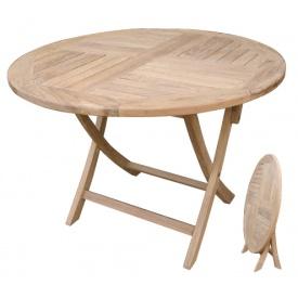 送料無料【ジャービス商事】天然チーク材の温かみ ジャービス商事 折り畳み丸テーブル 『ガーデンテーブル』 無塗装