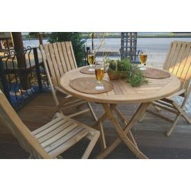 ジャービス商事 折り畳み丸テーブル 4点セット 『ガーデンテーブルセット』 無塗装