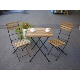 ジャービス商事 折り畳みアイアンチークテーブル 3点セット 『ガーデンテーブルセット』 無塗装