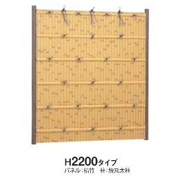 タカショー e-バンブーユニット 建仁寺垣 H2200 パネル (片面) *柱は別売です 『竹垣フェンス 柵』 青竹
