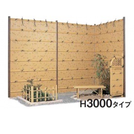 タカショー e-バンブーユニット 建仁寺垣 H3000 パネル (両面) *柱は別売です 『竹垣フェンス 柵』 枯 竹