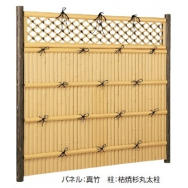 タカショー e-バンブーユニット 格子垣 H1800 パネル(両面) H1800 *柱は別売です 『竹垣フェンス 柵』 真竹