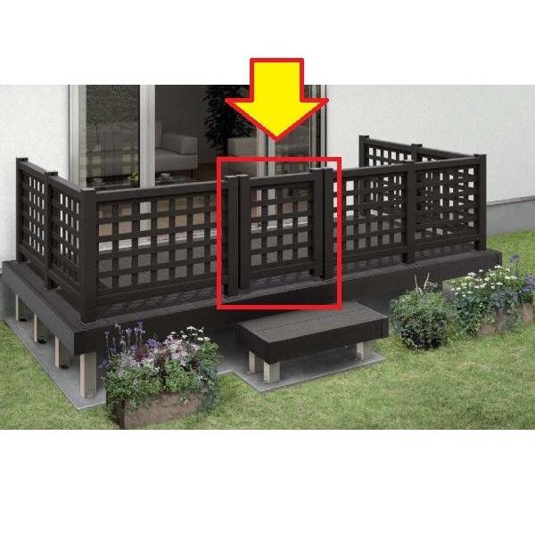 YKKAP リウッドデッキ200 リウッドデッキ門扉1型(井桁格子) T100+中柱+(吊元用)端柱セット ウッドデッキ 門扉 人工木 樹脂 diy