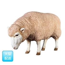 送料無料【FRP】メリノ種のひつじ。実物と見間違うほど、精巧に作られた動物オブジェ。 FRP メリノ種のひつじ / Merino Ewe 『動物園オブジェ アニマルオブジェ 店舗・ホテル向け』