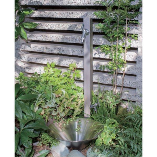 オンリーワン アルミ立水栓ステーク 50 組み合わせセット2   ステンカラー  『立水栓+蛇口+泡沫アダプター+ホースアダプター+水受け』 ステンカラー