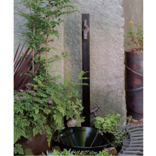 オンリーワン アルミ立水栓ステーク 50 組み合わせセット3   ブラック  『立水栓+蛇口+泡沫アダプター+ホースアダプター+水受け』 ブラック