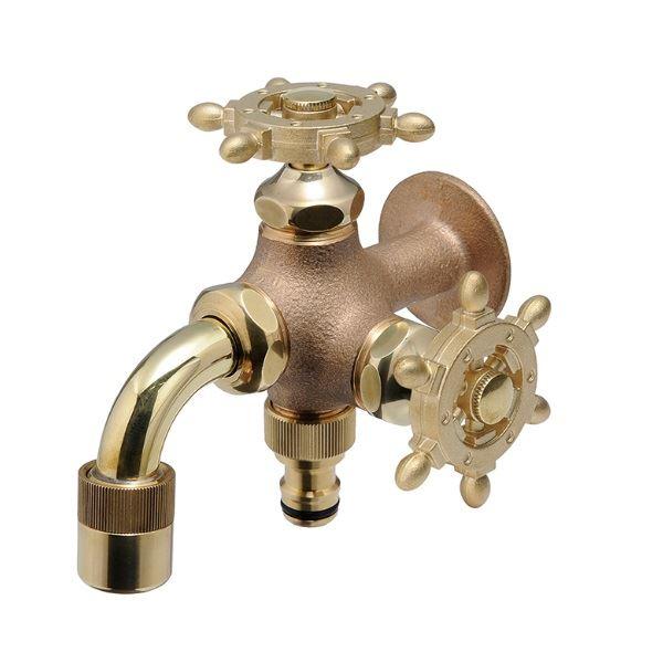 オンリーワン ガーデン水栓 二口万能胴長水栓 ラダーハンドル HV3-FBD-RE  鋳肌