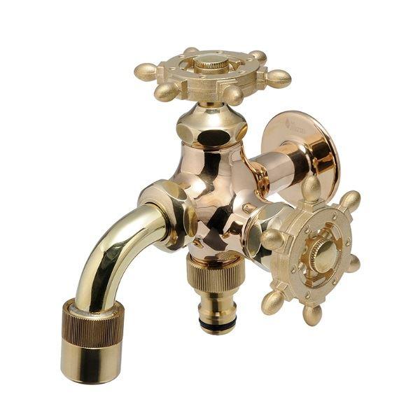 オンリーワン ガーデン水栓 二口万能胴長水栓 ラダーハンドル HV3-FBD-RB  研磨