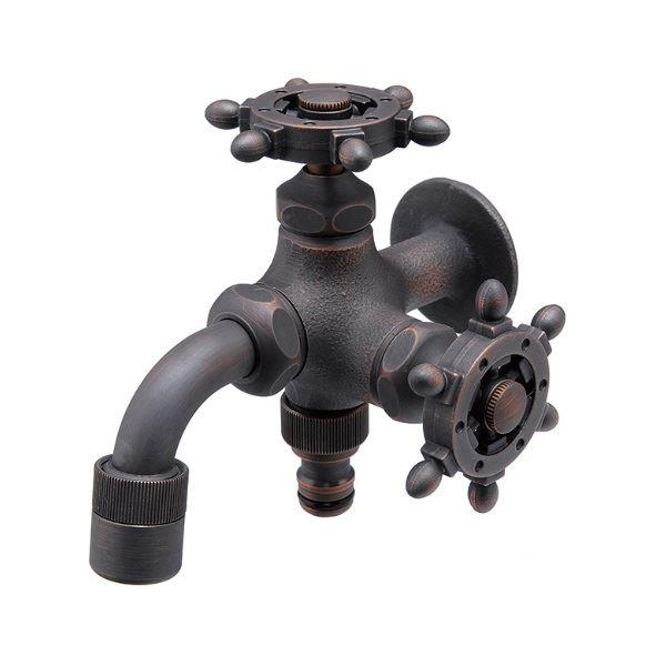 オンリーワン ガーデン水栓 二口万能胴長水栓 ラダーハンドル HV3-FBD-RZ  ブロンズメッキ