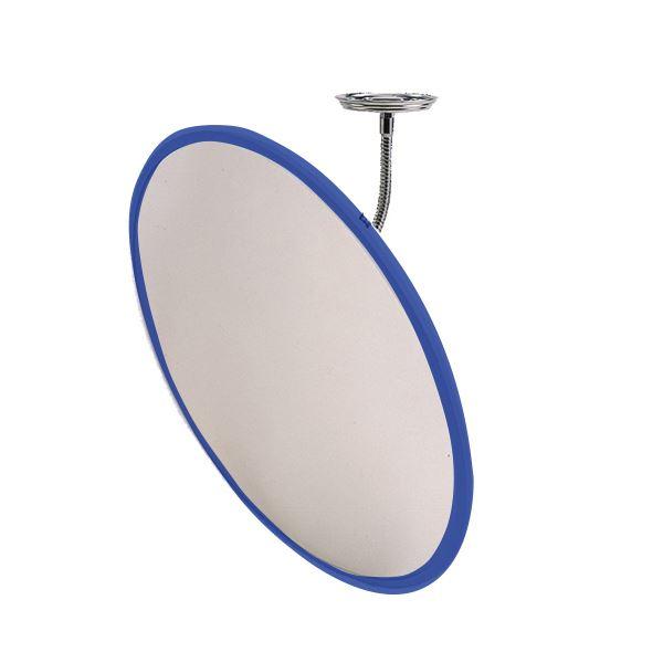 信栄物産 防犯ミラー室内用 フレキシブル 丸型 440φ 枠:青  #H-45BL