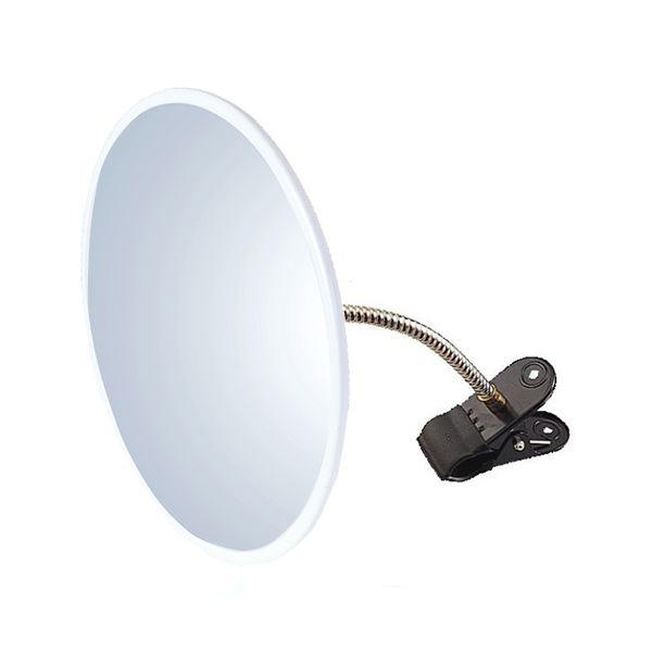 信栄物産 防犯ミラー室内用 クリップタイプ 丸型 310φ 枠:白  #H-30K-W