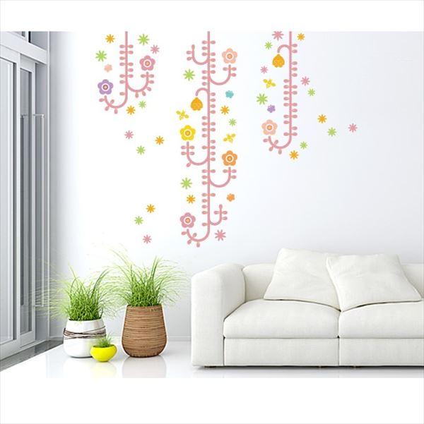 東京ステッカー 高級ウォールステッカー 植物 植物と昆虫たち Mサイズ *TS0006-BM ピンク 『おしゃれ かわいい』 『壁 シール』