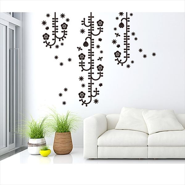 東京ステッカー 高級ウォールステッカー 植物 植物と昆虫たち Mサイズ *TS0006-DM ブラック 『おしゃれ かわいい』 『壁 シール』