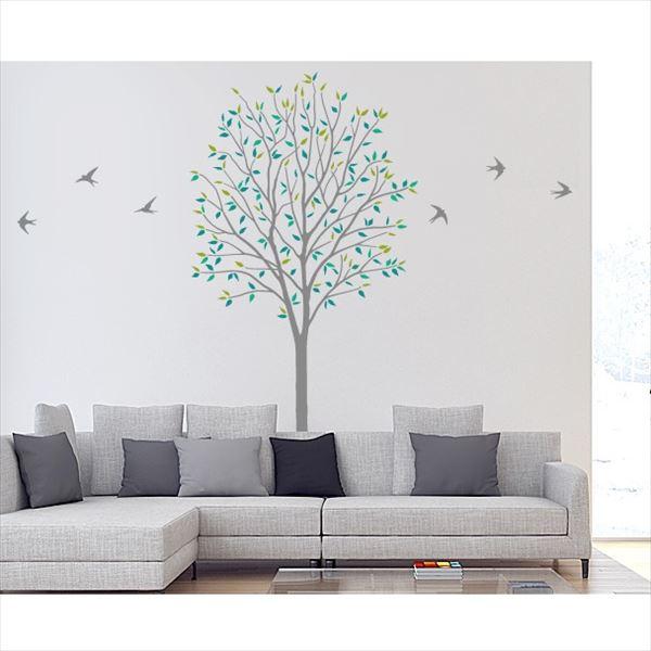 東京ステッカー 高級ウォールステッカー 植物 木とツバメ Lサイズ *TS0027-AL グリーン 『おしゃれ かわいい』 『壁 シール』