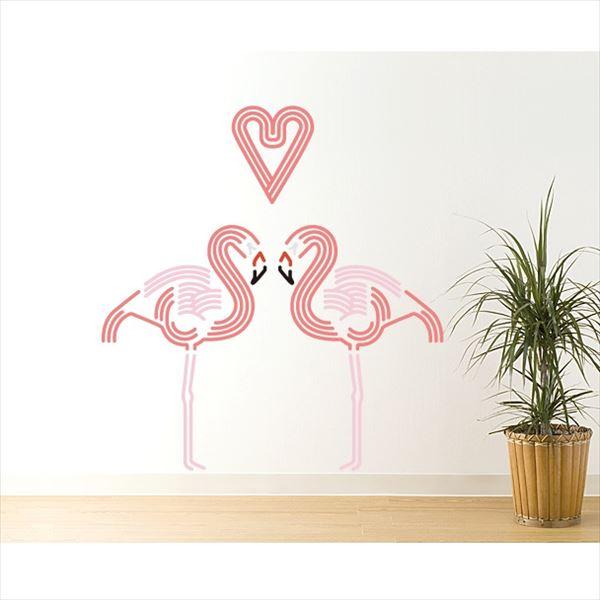 東京ステッカー 高級ウォールステッカー 動物 フラミンゴ ハート Lサイズ *TS0045-AL ピンク 『おしゃれ かわいい』 『壁 シール』
