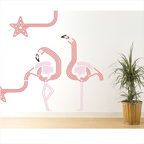 東京ステッカー 高級ウォールステッカー 動物 フラミンゴ ルック Mサイズ *TS0047-AM ピンク 『おしゃれ かわいい』 『壁 シール』