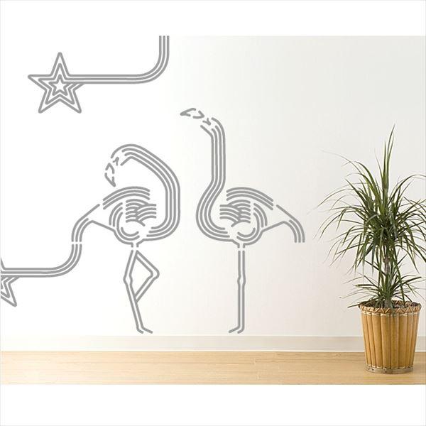 東京ステッカー 高級ウォールステッカー 動物 フラミンゴ ルック Mサイズ *TS0047-DM グレー 『おしゃれ かわいい』 『壁 シール』