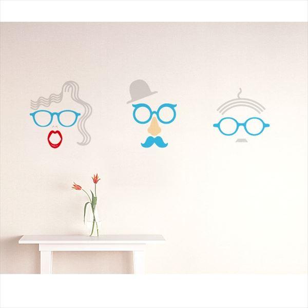 東京ステッカー 高級ウォールステッカー グラフィックアート メガネ Mサイズ *TS0048-DM ブルー 『おしゃれ かわいい』 『壁 シール』