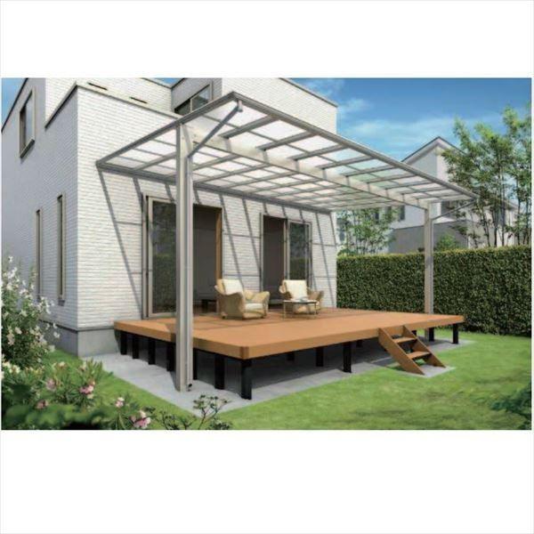 『全国配送』 YKKAP エフルージュ 大型テラス 壁付けタイプ 54×39 熱線遮断ポリカーボネート屋根 高さ2800mm DTC-K3954L- 木調色 木調色