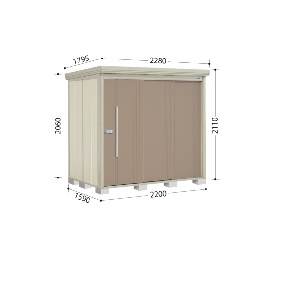 タクボ物置 ND/ストックマン ND-Z2215 一般型 結露減少屋根 『追加金額で工事可能』 『収納庫 倉庫 屋外 中型 大型』 カーボンブラウン