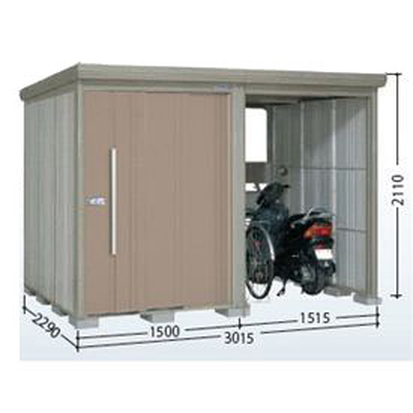 タクボ物置 TP/ストックマンプラスアルファ TP-SZ3022 多雪型 結露減少屋根 『追加金額で工事も可能』 『駐輪スペース付 屋外用 物置 自転車収納 におすすめ』 カーボンブラウン