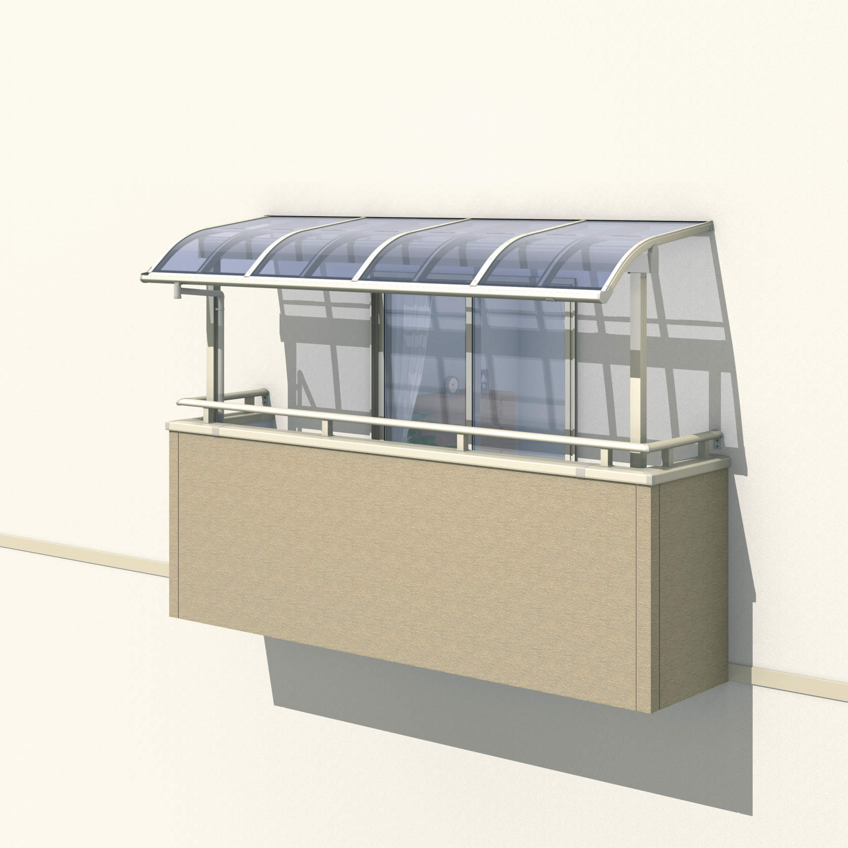 三協アルミ レボリューZ 2.5間×4尺 1500タイプ/関東間/3階用R型/出幅移動収まり/2連結  『テラス屋根』 熱線遮断ポリカ
